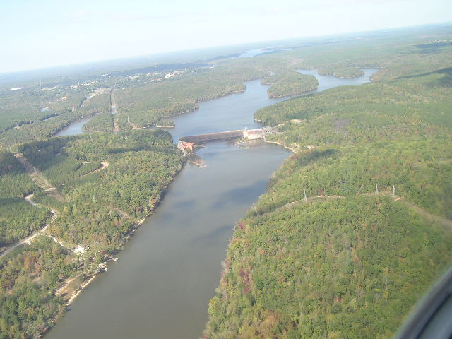 Flying over Lake Wateree